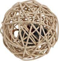 Flamingo Vrbový spletený míček s pískátkem pro kočky 10cm